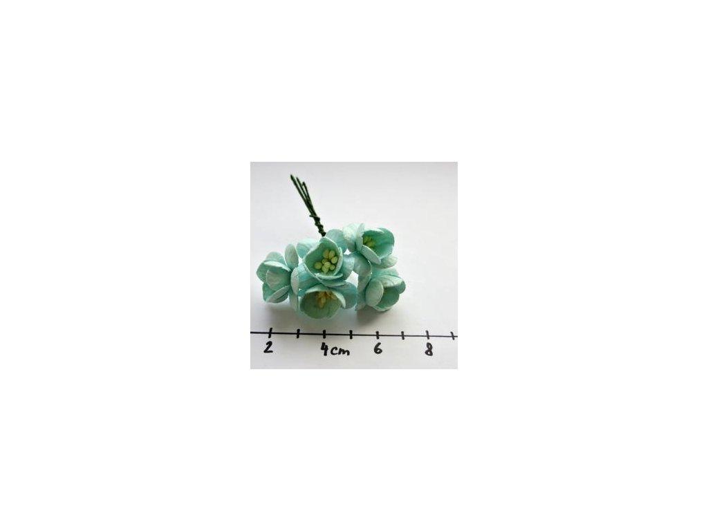 PASTEL GREEN MULBERRY PAPER CHERRY BLOSSOMS / 5 ks - papírové kytky