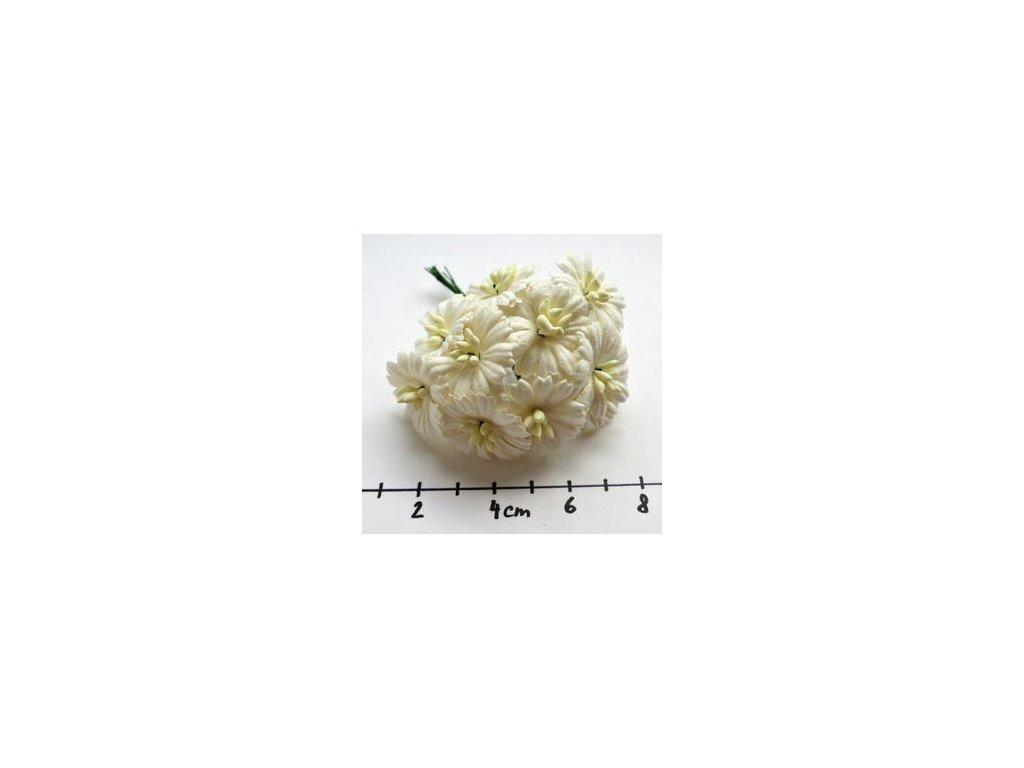 WHITE COSMOS DAISY STEM FLOWERS / 10 ks - papírové kytky