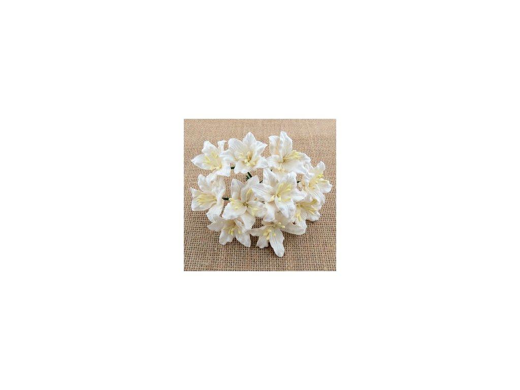 WHITE MULBERRY PAPER LILY FLOWERS  / 5 ks - papírové kytky