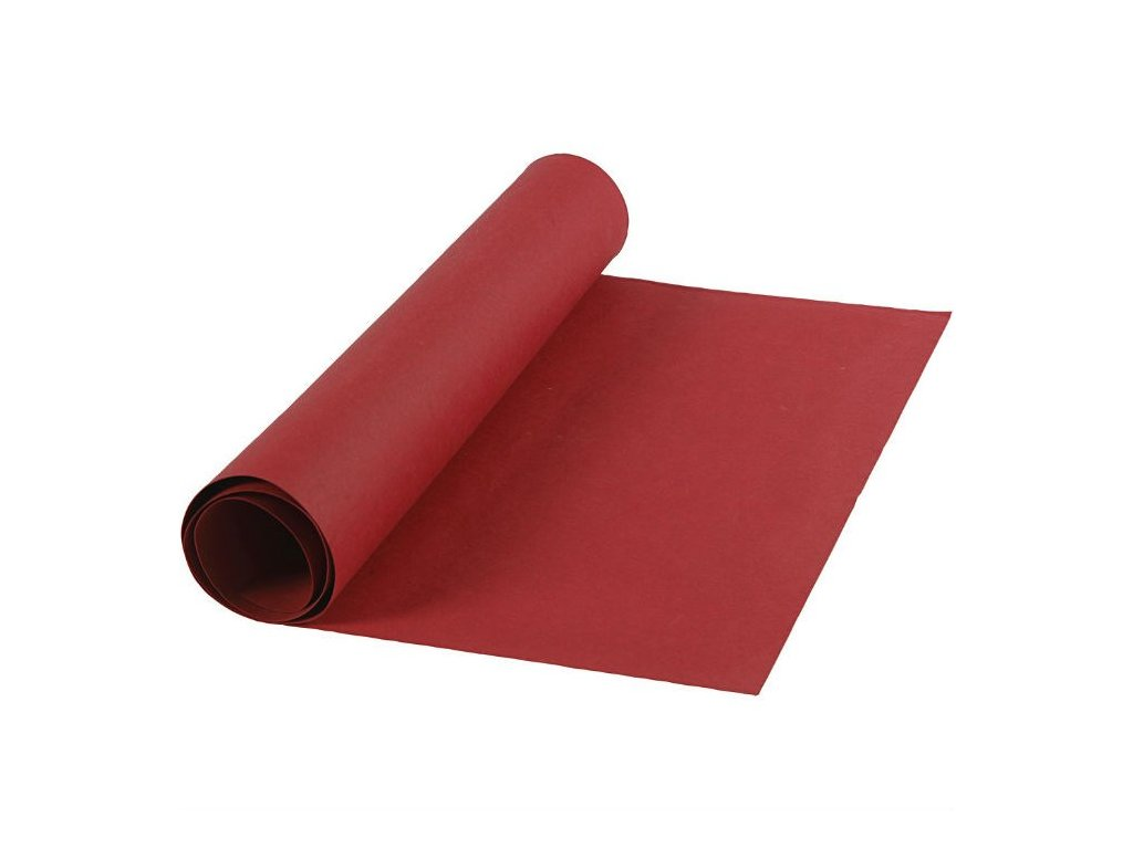 FAUX LEATHER PAPER / RED - papír se vzhledem kůže, 50x100 cm