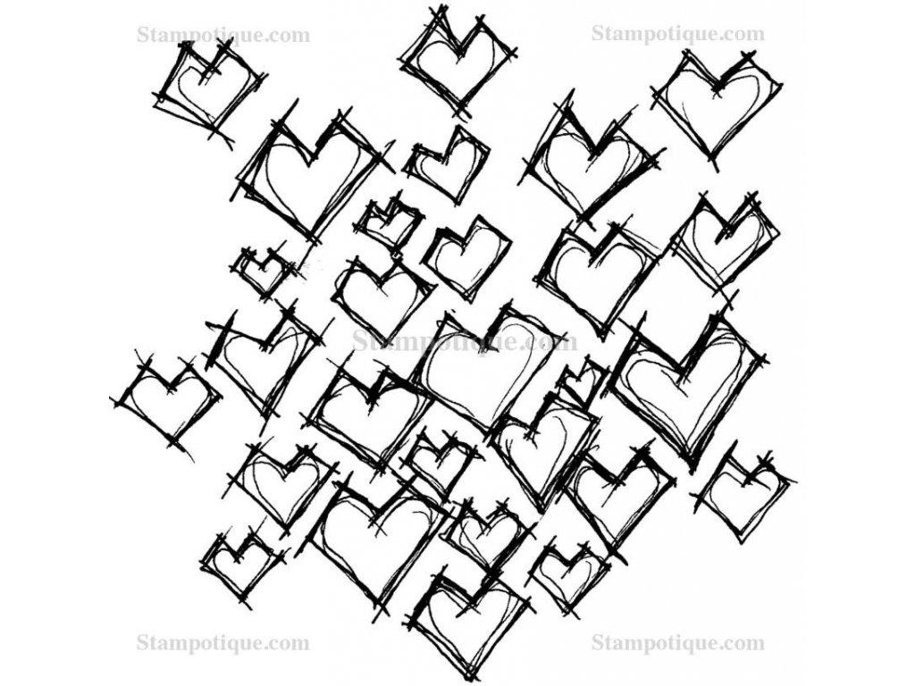 Stampotique -  Daniel's Hearts -  gumové razítko pro scrapbook