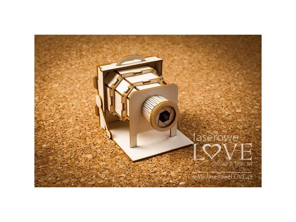 Laserowe LOVE - 75/ Aparat retro 3D  - kartonové výseky, LA171293