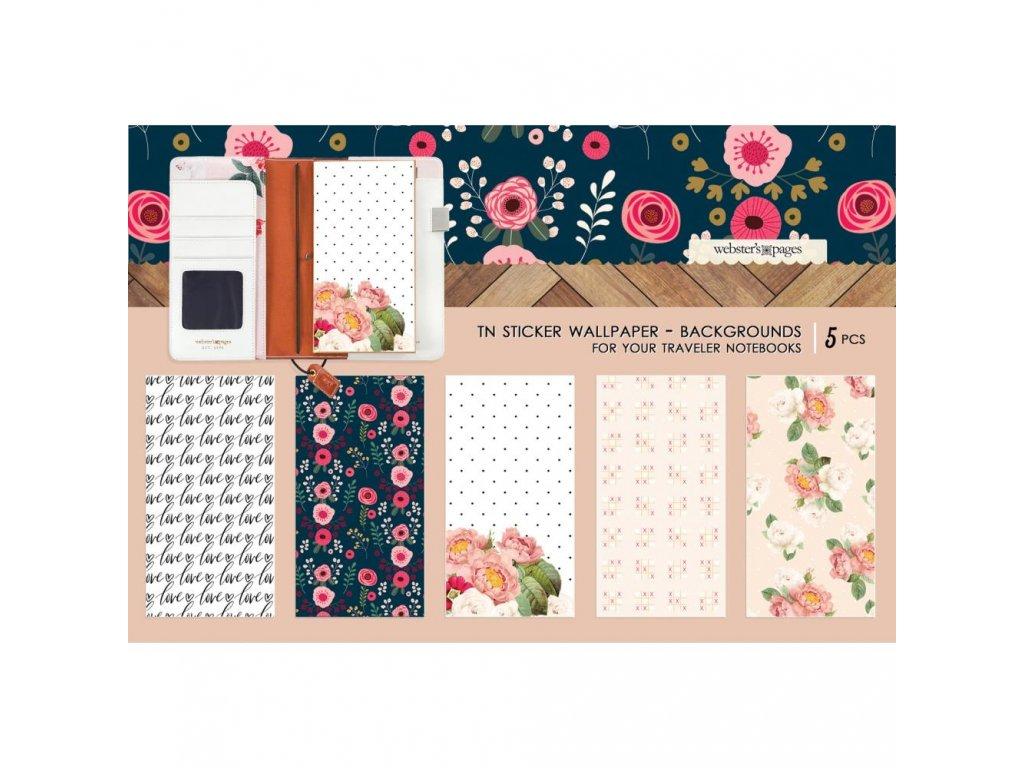Websters Pages - Love Backgrounds / samolepky na desky deníčků 11 x 21 cm