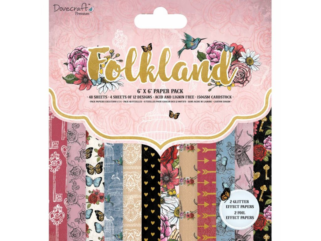 dovecraft folkland 6x6 inch paper pad dcpap105