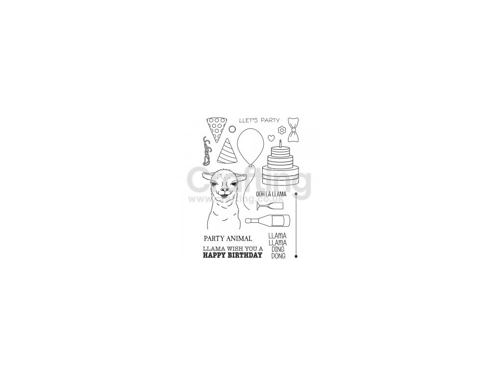 Sweet Dixie - PARTY ANIMAL - silikonová razítka, lama, narozeniny