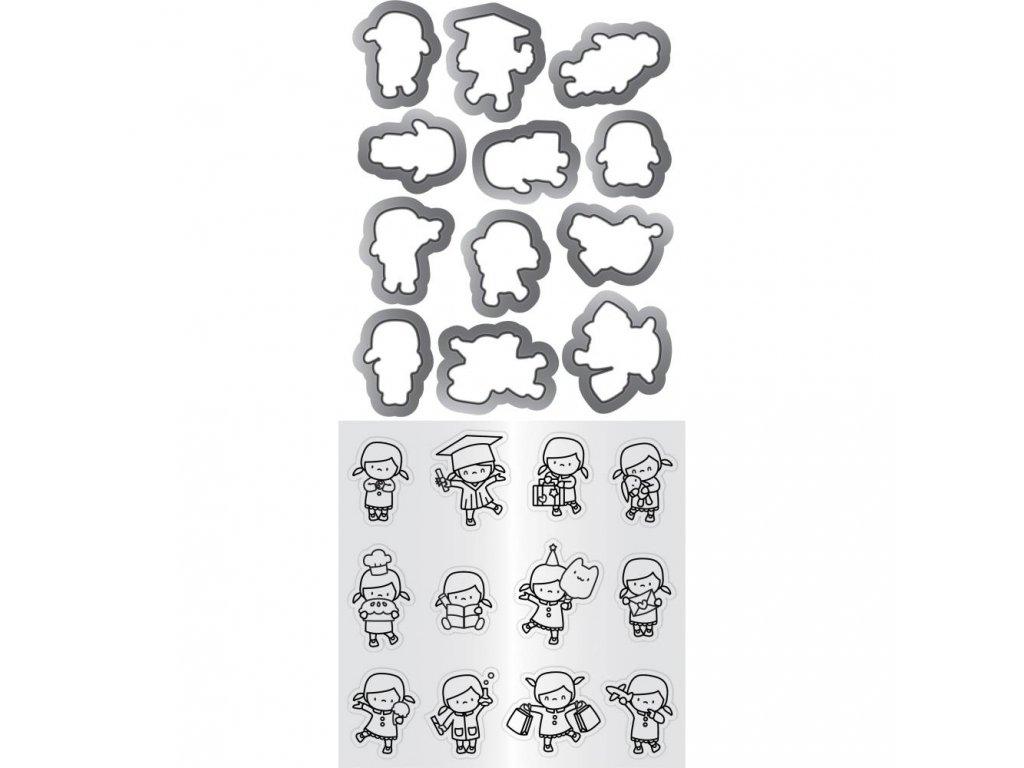 Mama Elephant - MINI GIRL AGENDA - vyřezávací kovové šablony + silikonová razítka