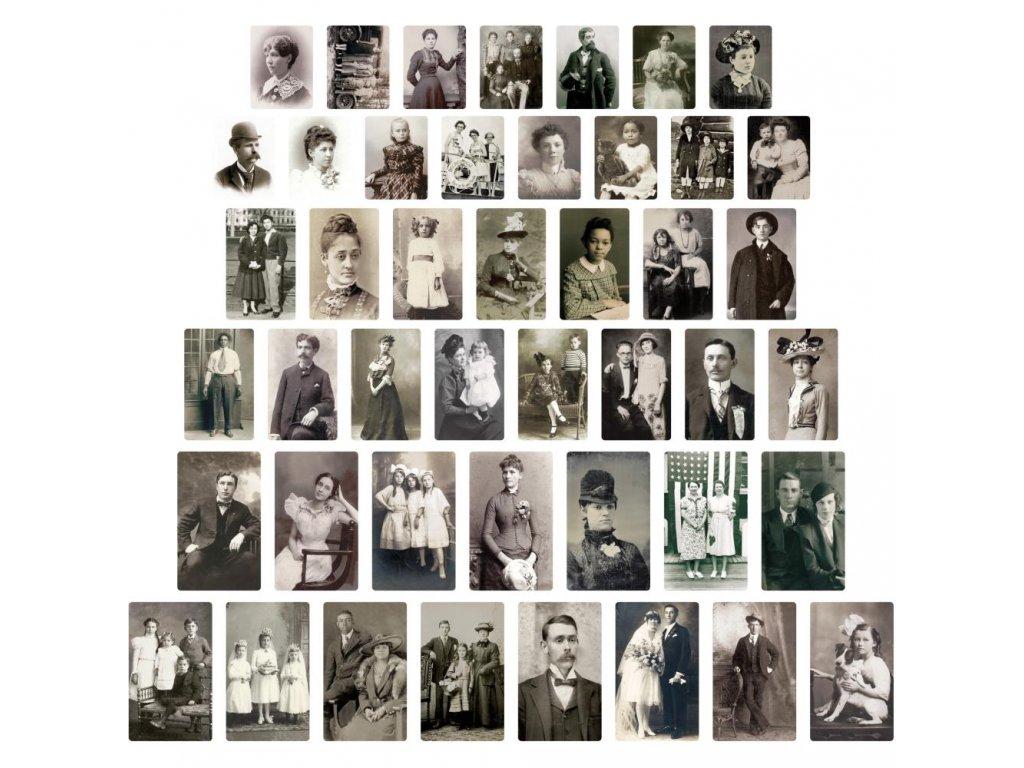 Tim Holtz - FOUND RELATIVES- potištěné kartičky, portréty