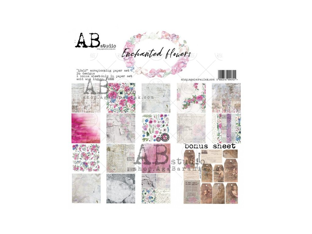 enchanted flowers scrapbooking paper set 8x 12 x12 bonus