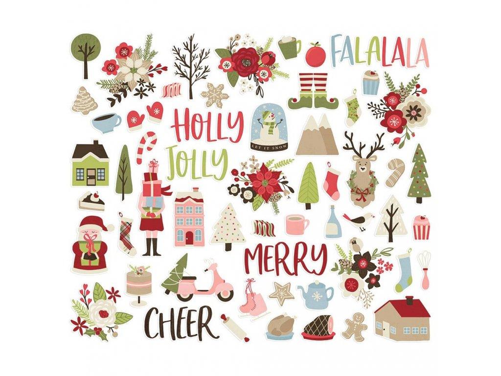 Simple Stories - HOLLY JOLLY - vánoční papírové obrázky