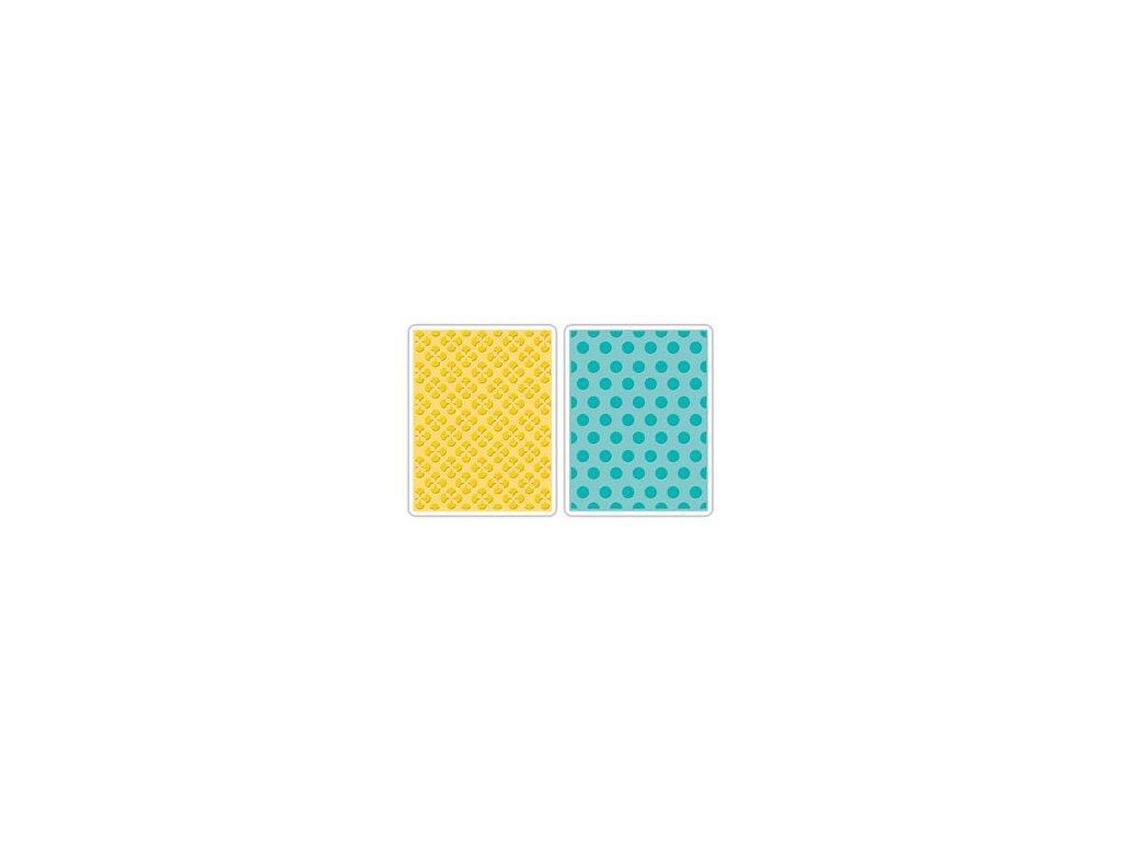 658990 sizzix textured impressions embossing folders 2pk polka dots starflowers set cherished by eileen hu