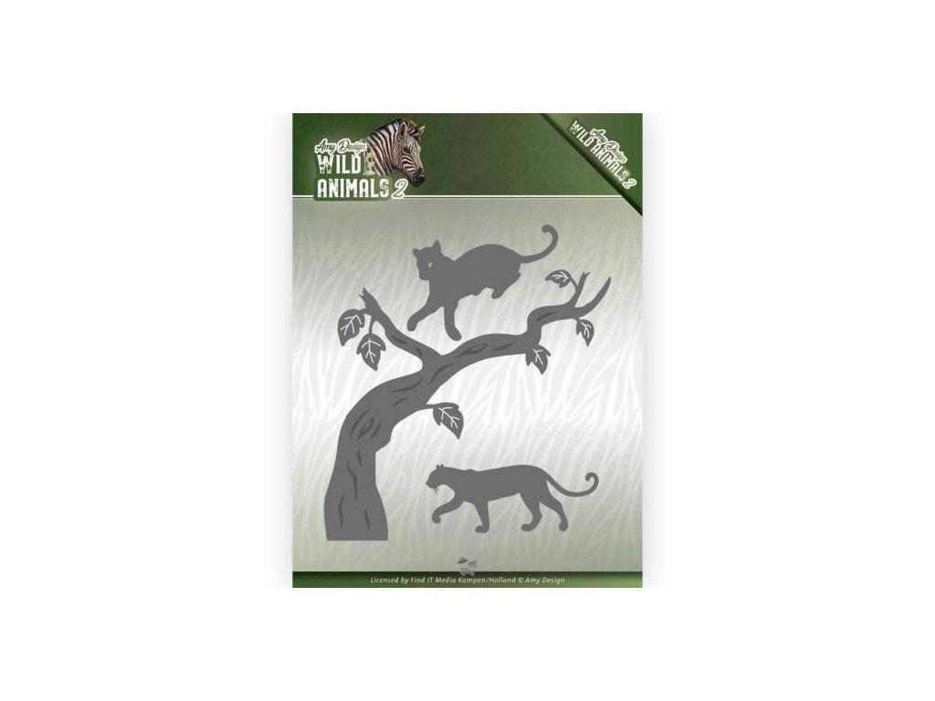Amy Design - WILD ANIMALS / strom, kočka - vyřezávací šablony