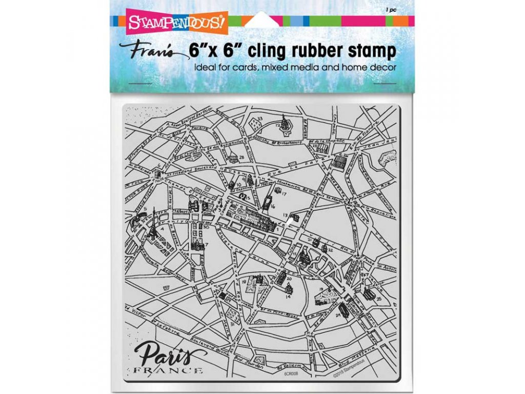 stampendous cling stamp paris map 6cr008