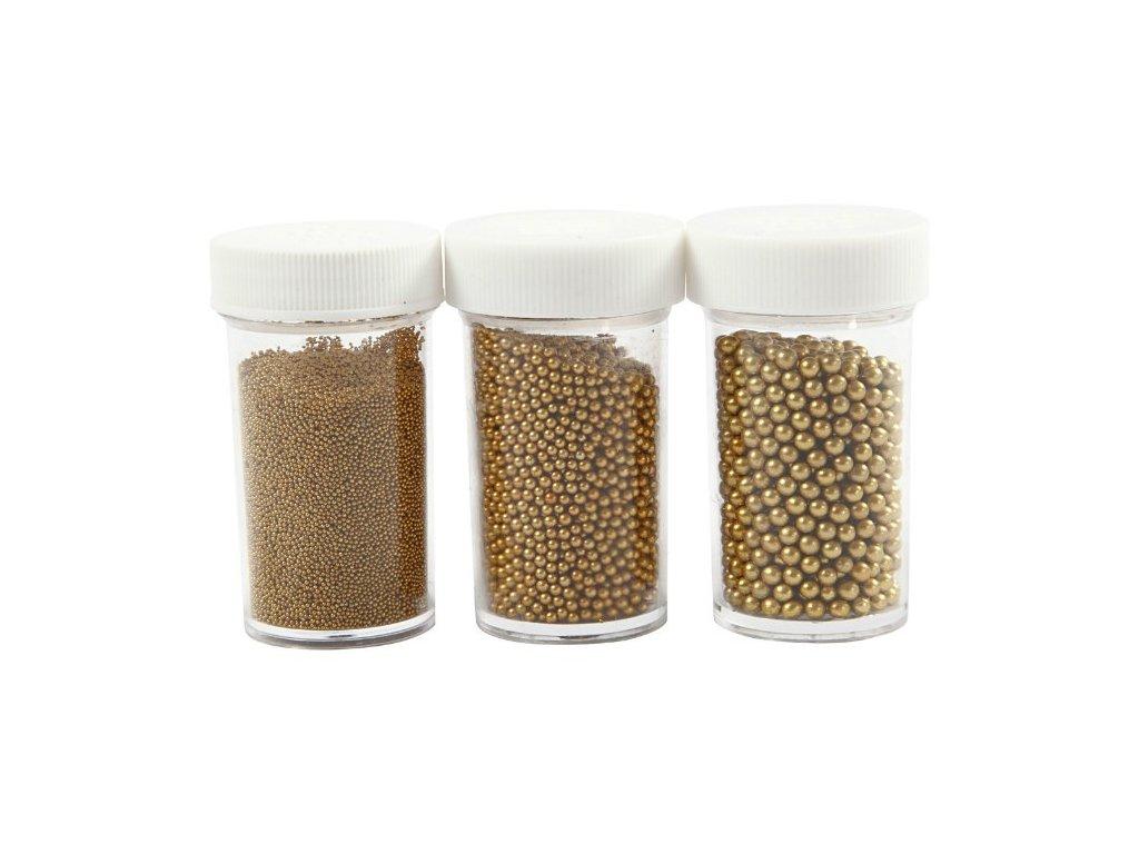 Deco - dekorační perličky skleněné (45g x 3ks) - zlaté