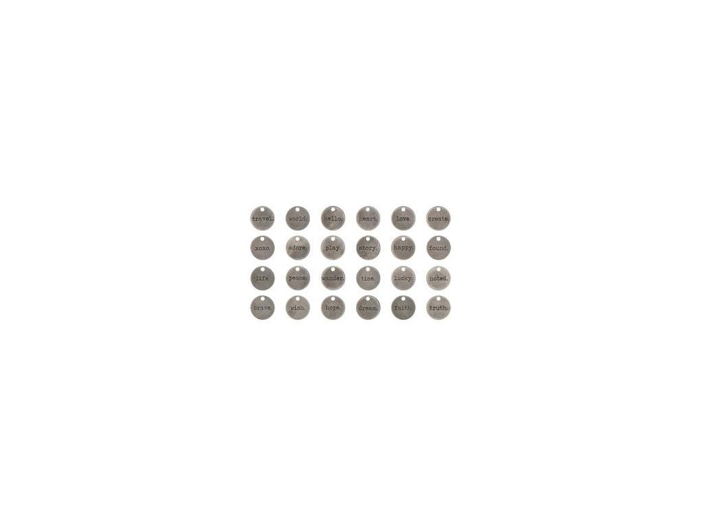 Tim Holtz - TYPED TOKENS - kovové ozdoby