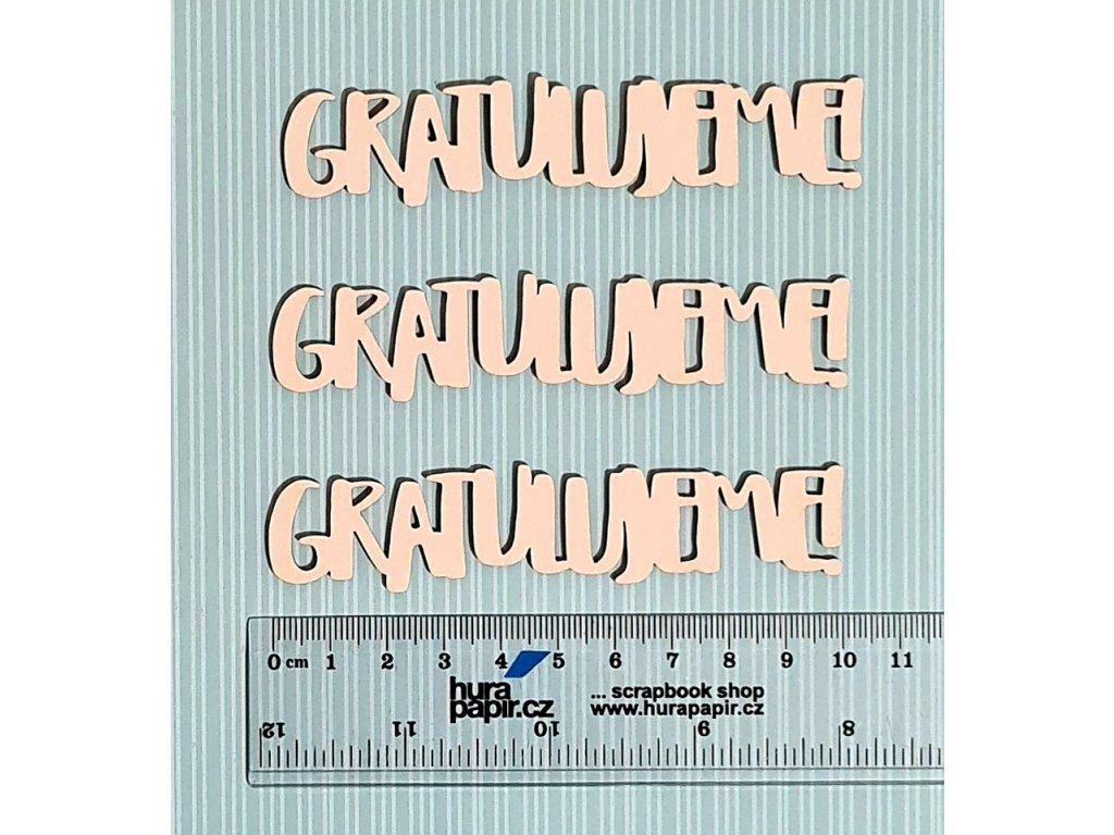 Hurá Papír - kartonové výseky / 3x gratulujeme