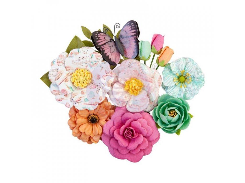 Prima Marketing - SURF BOARD / FLOWERS - papírové kytky + motýl