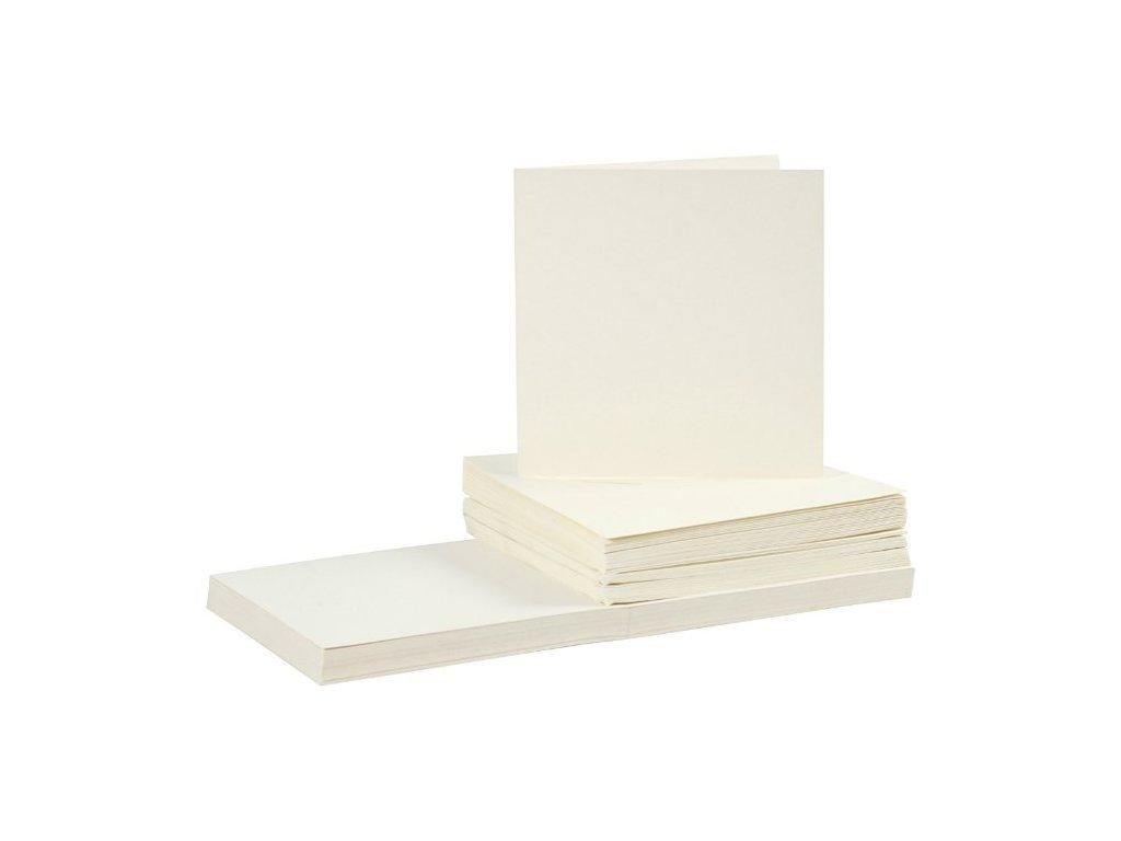 Card Making - čtvercová  KRÉMOVÁ - přání 15 x 15 cm + obálky - 50 ks