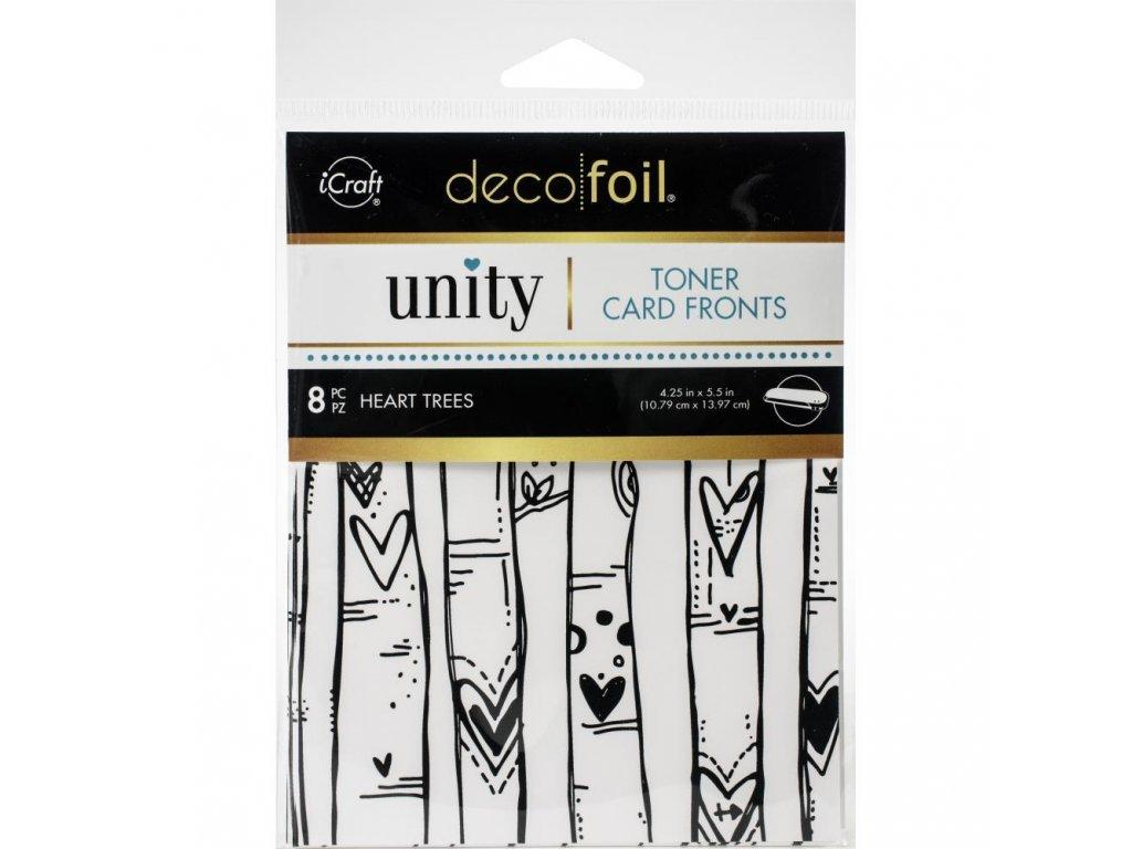 iCraft - Deco Foil - TONER CARD FRONTS / HEART TREES / 8 ks - potištěné kartičky k metalickým fóliím