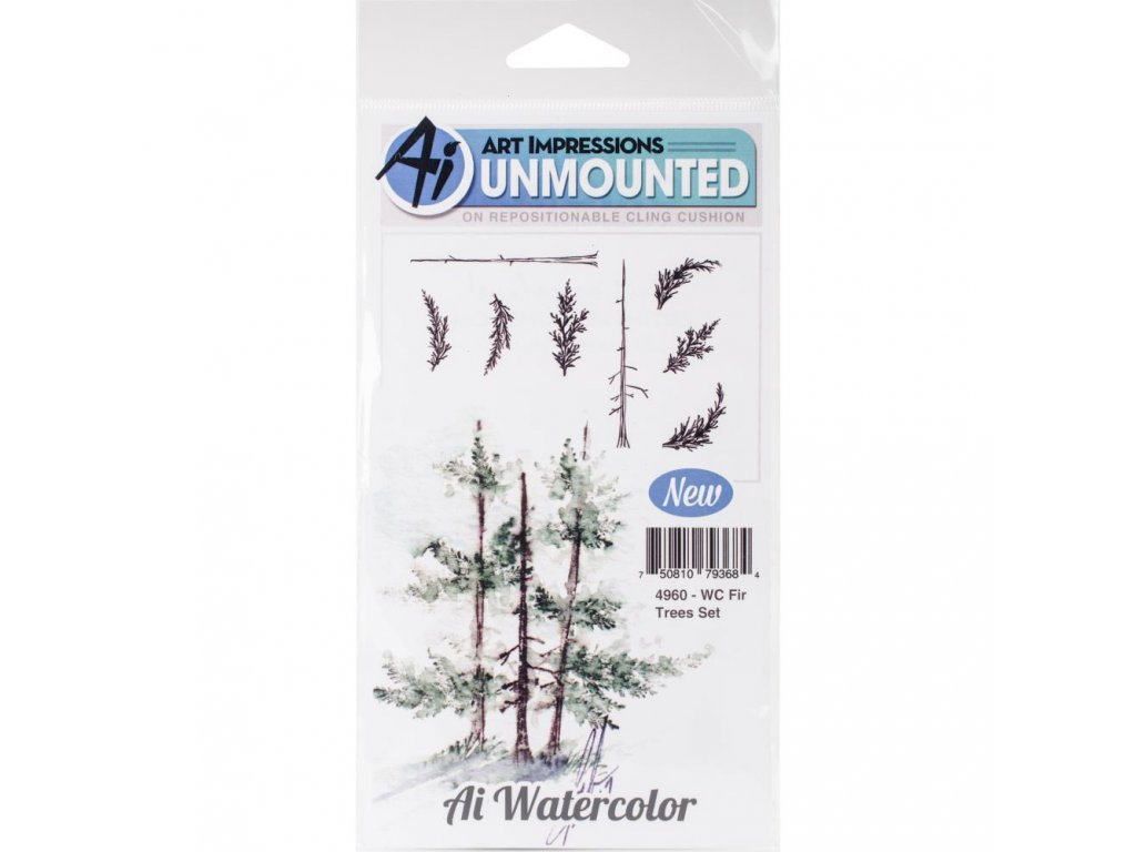 Art Impressions - WC FIR TREES SET / 4960 - cling gumové razítko