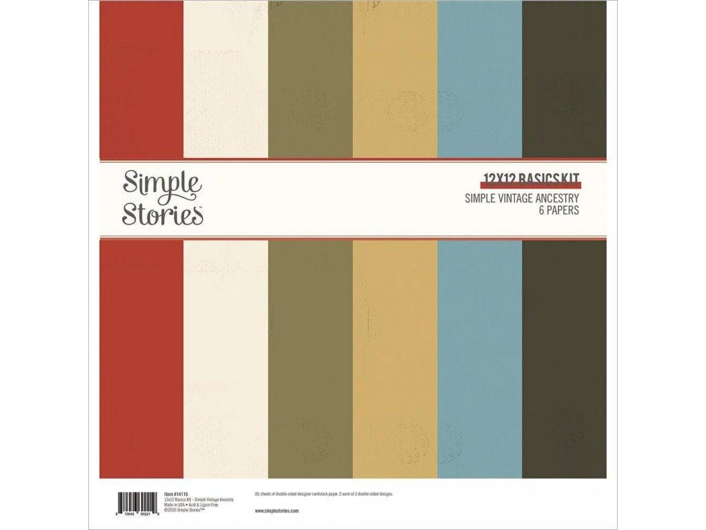 "Simple Stories - VINTAGE ANCESTRY - 12"" kompletní scrapbooková sada"