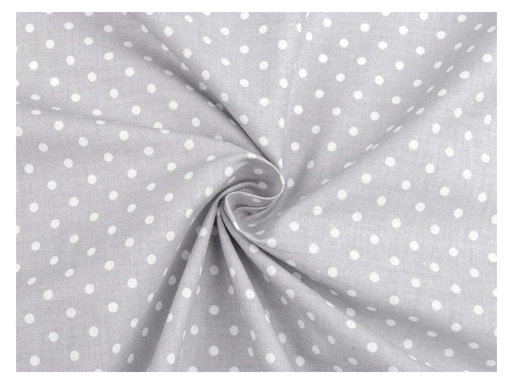 Bavlněná látka puntík / šedo - bílá / cca 30 x 80 cm