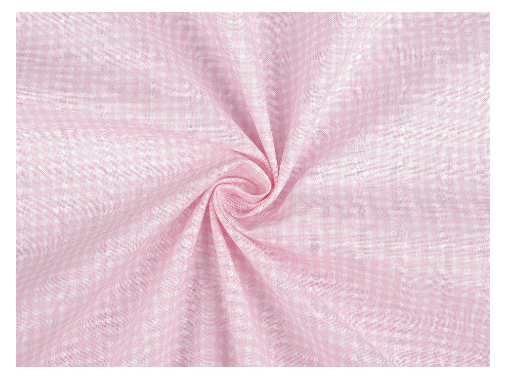 Bavlněná látka mini káro / růžovo - bílá / cca 30 x 80 cm