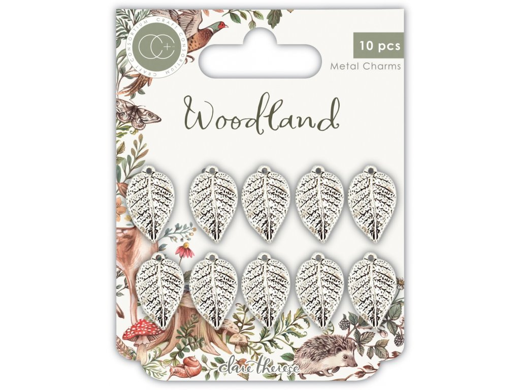 craft consortium woodland metal charms silver leaf