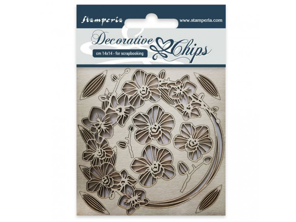 stamperia decorative chips garland of flowers scb2
