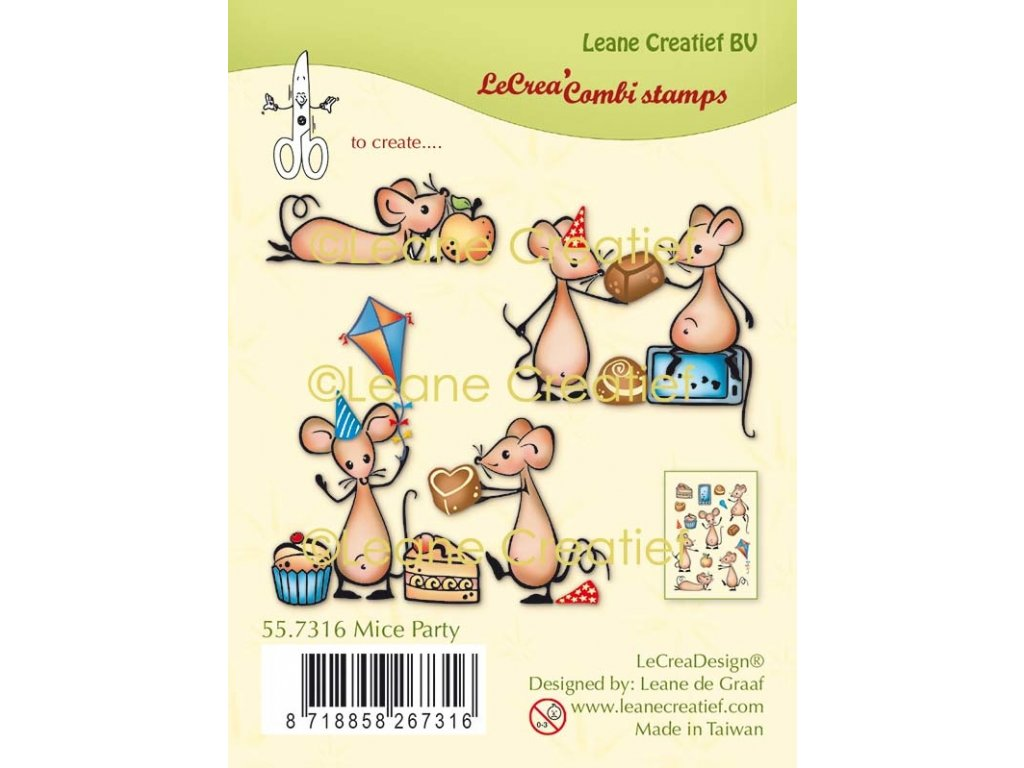 leane creatief mice party clear stamps 557316