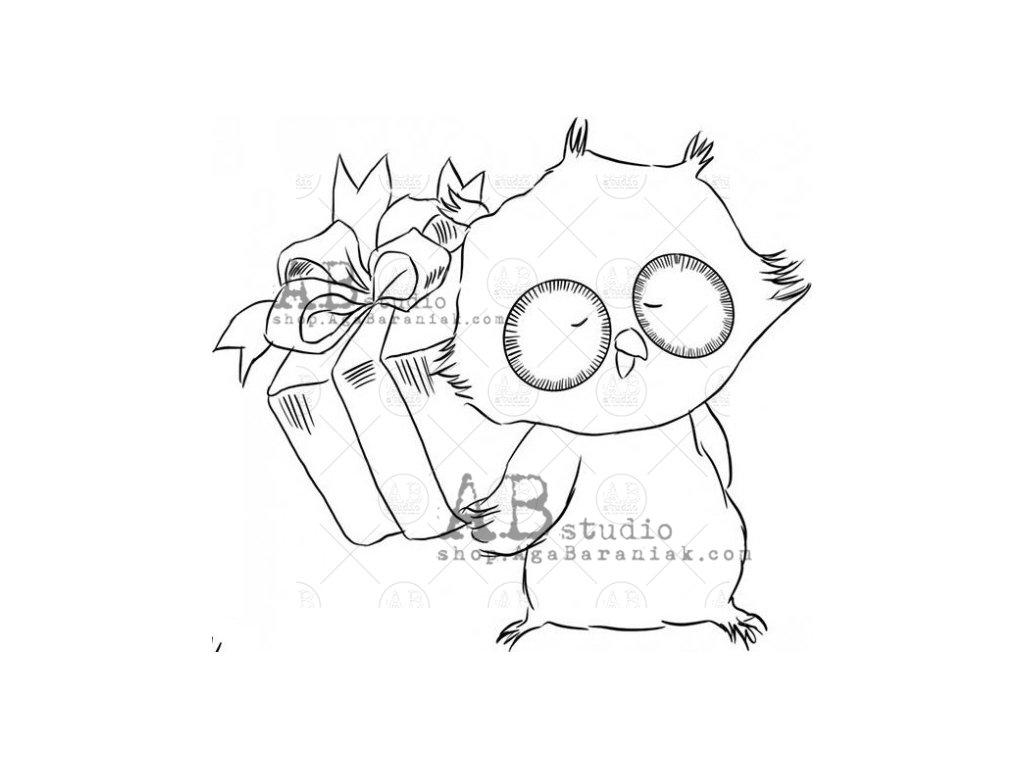 rubber stamp id 973 birthday owl