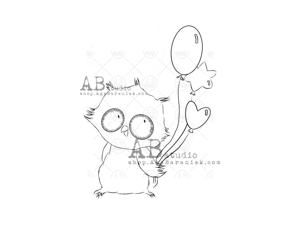 rubber stamp id 974 owl with balloons