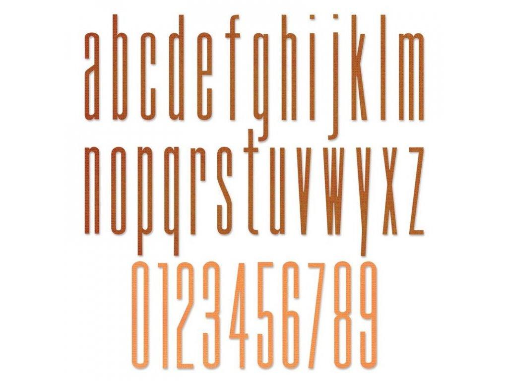 Sizzix / Thinlits - 665207/  ALPHANUMERIC STRETCH LOWER - vyřezávací šablony, abeceda