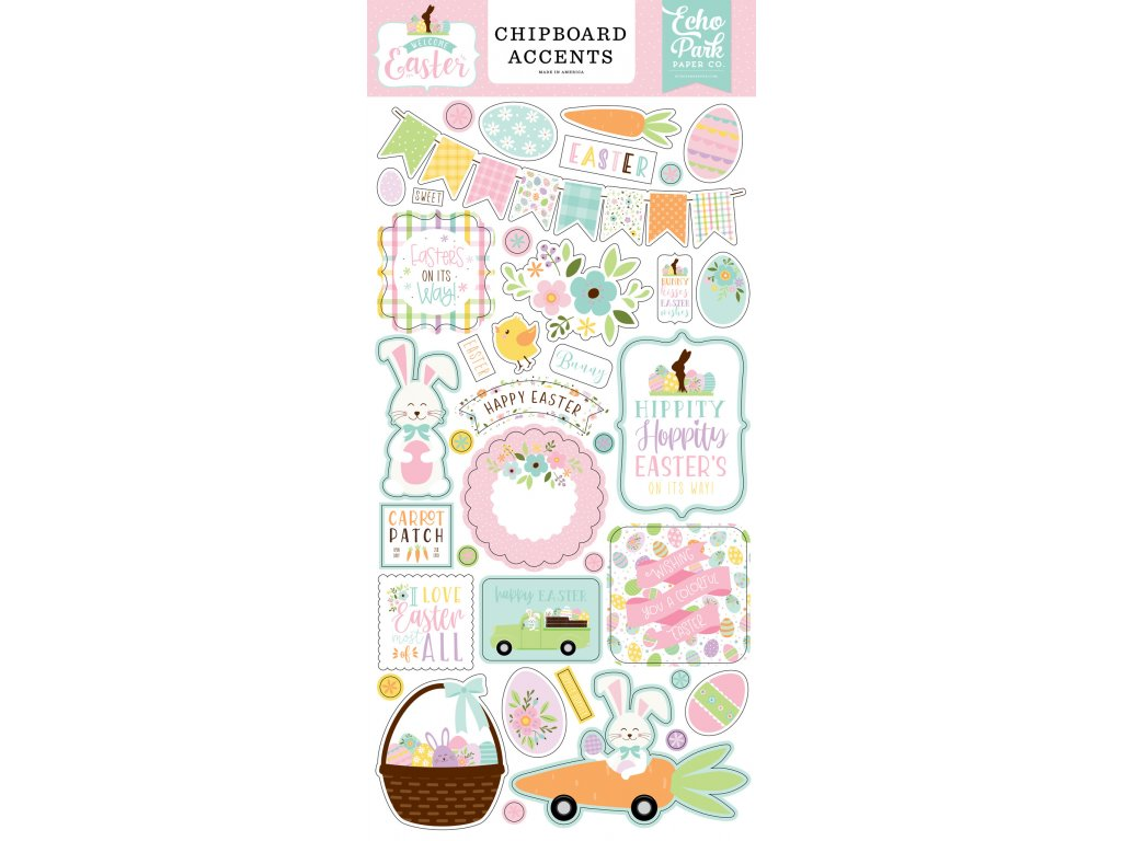 echo park welcome easter 6x13 inch chipboard accen