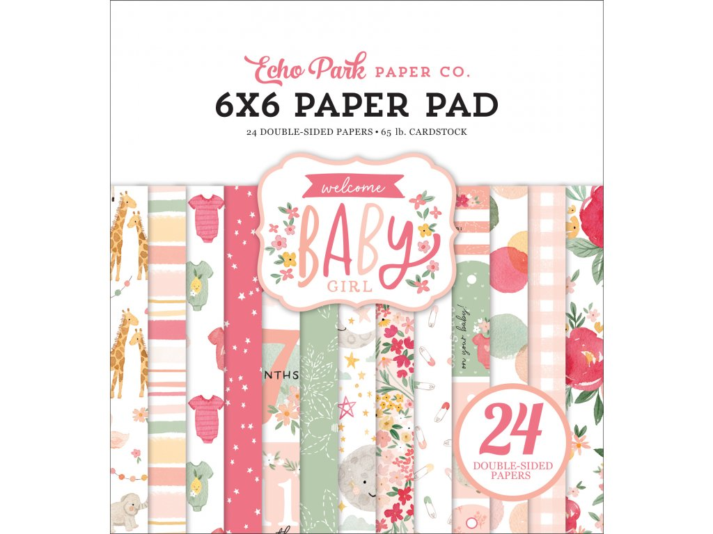 echo park welcome baby girl 6x6 inch paper pad wbg
