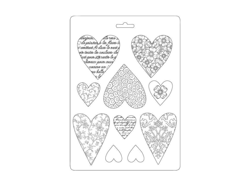 stamperia soft mould a5 hearts k3pta530