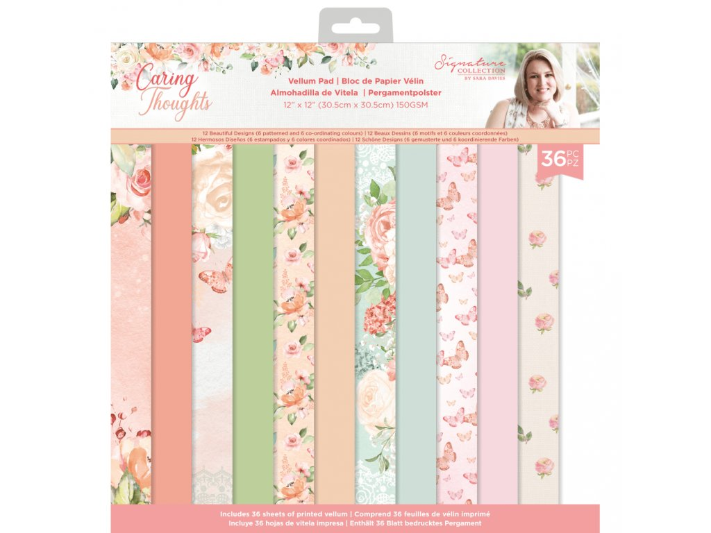 crafters companion caring thoughts 12 x12 inch vel