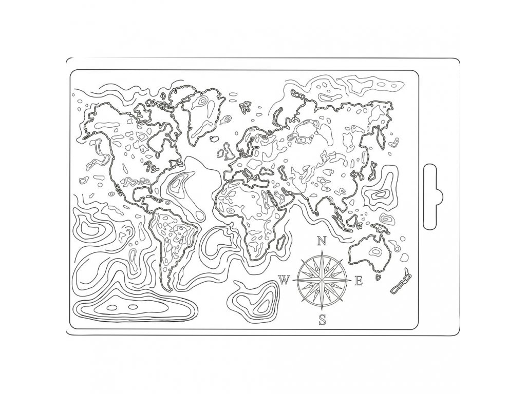 stamperia soft mould a5 map of the world k3pta544