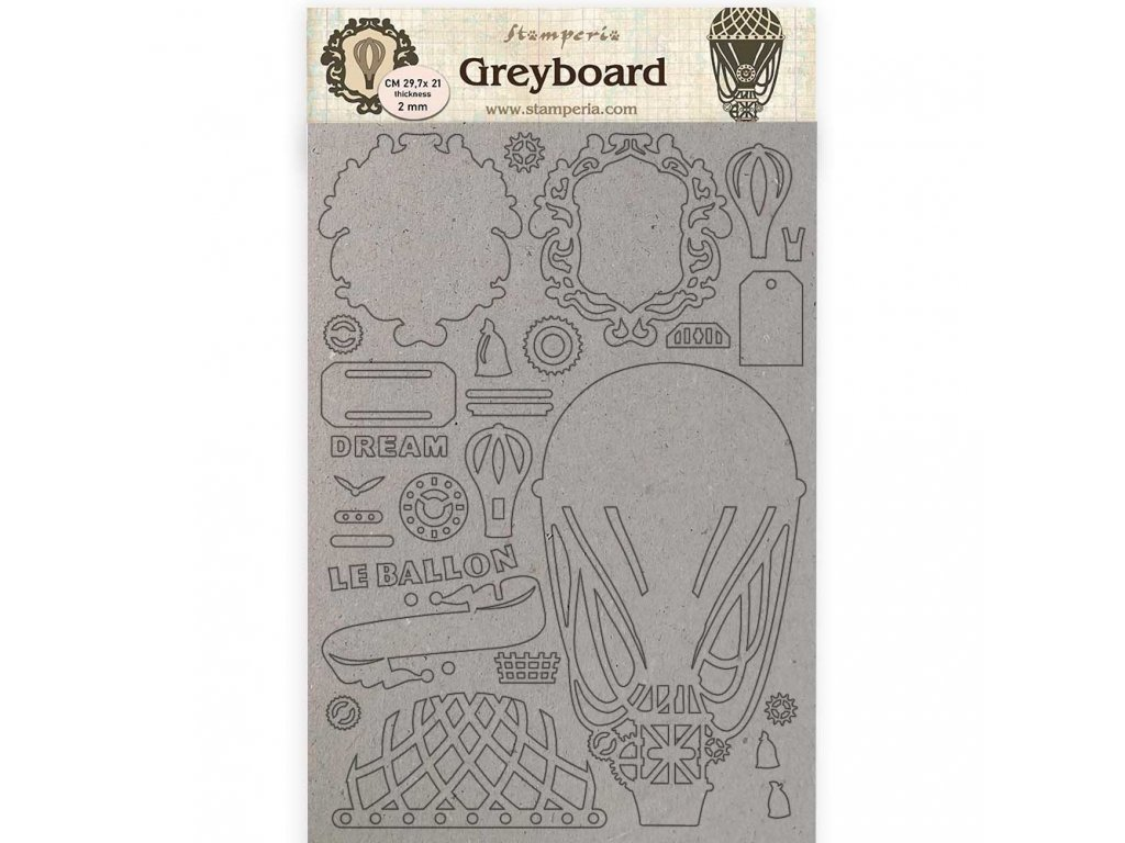 stamperia greyboard a4 voyages fantastiques air ba