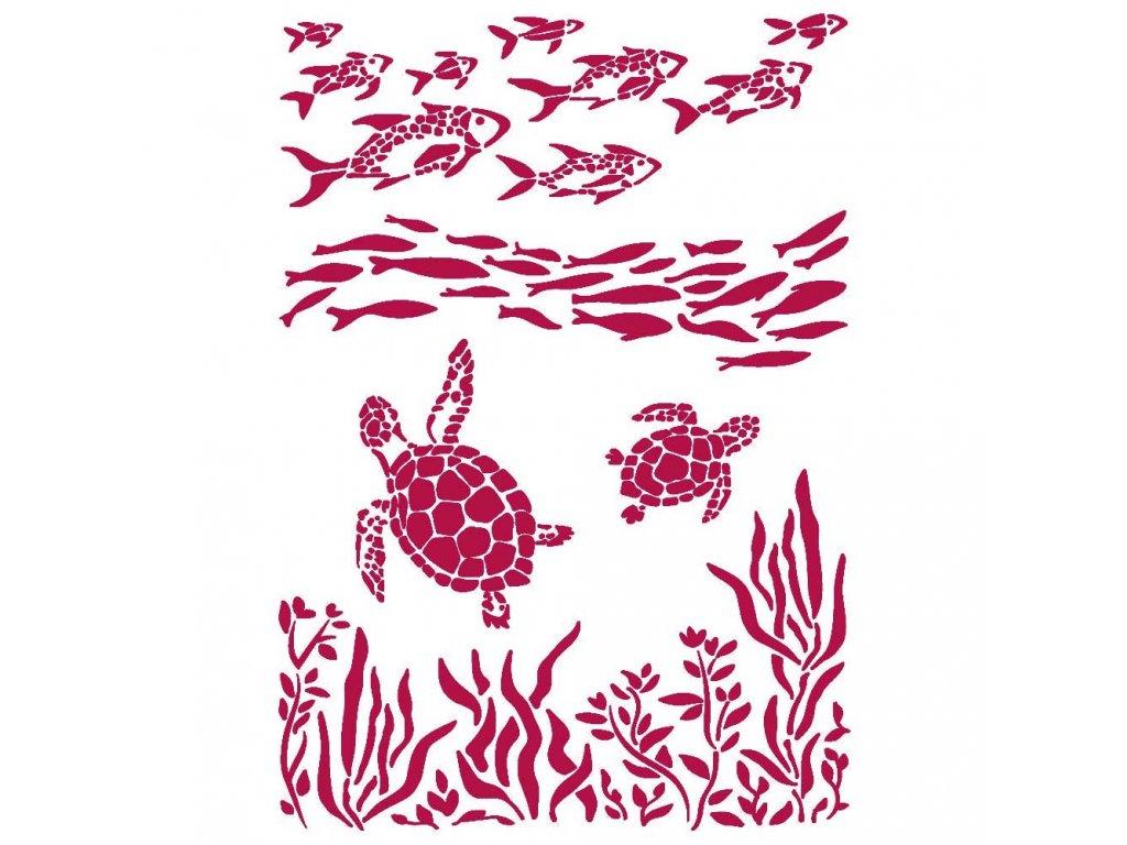 stamperia stencil a4 romantic sea dream fish and t
