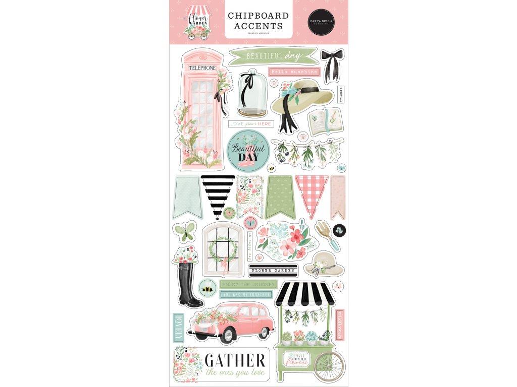 carta bella flower garden chipboard accents cbga13