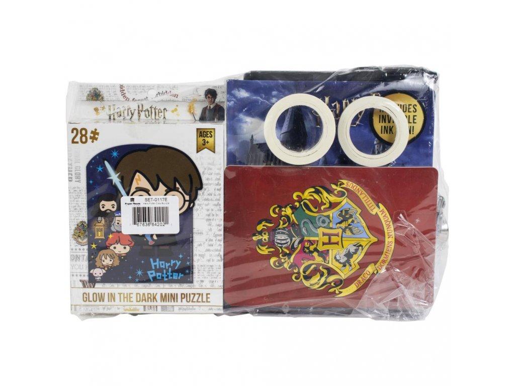 Harry Potter - SADA / puzzle, 2x washi páska, 3x samolepky, deník s perem, tečkovaný bloček