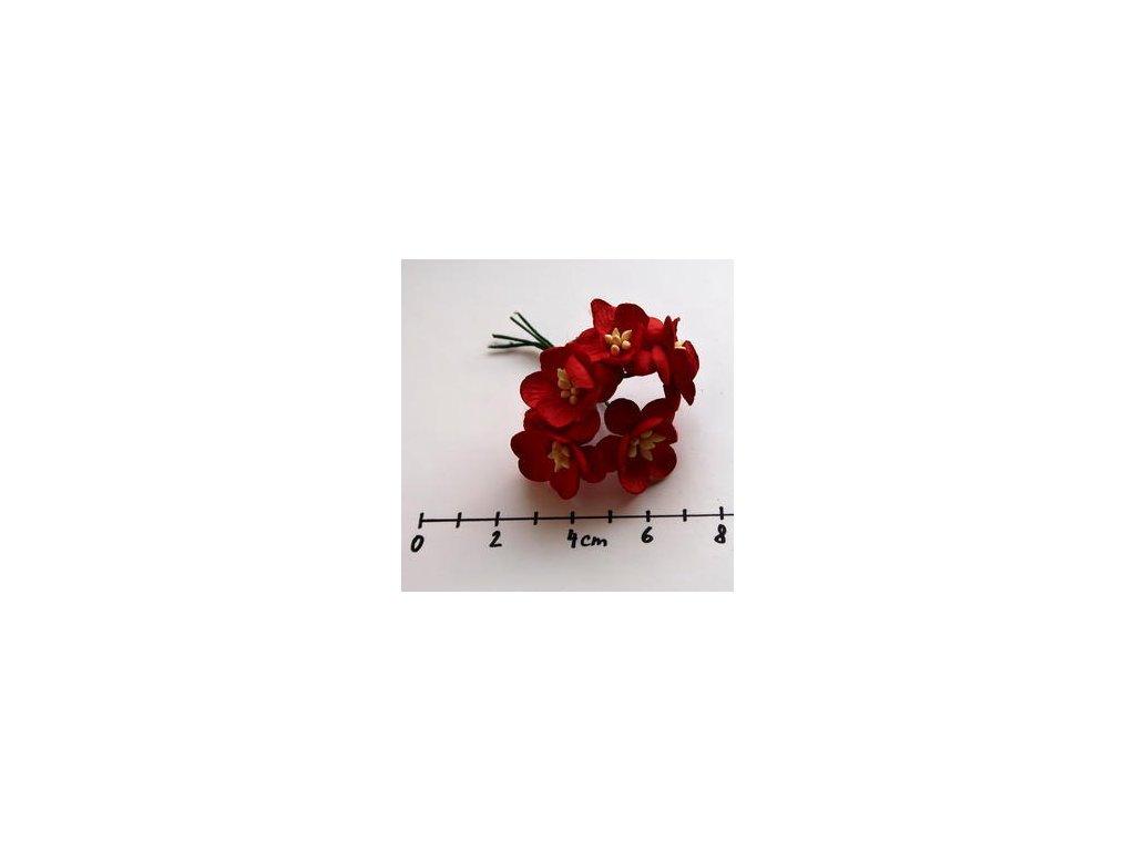 RED MULBERRY PAPER CHERRY BLOSSOMS / 5 ks - papírové kytky