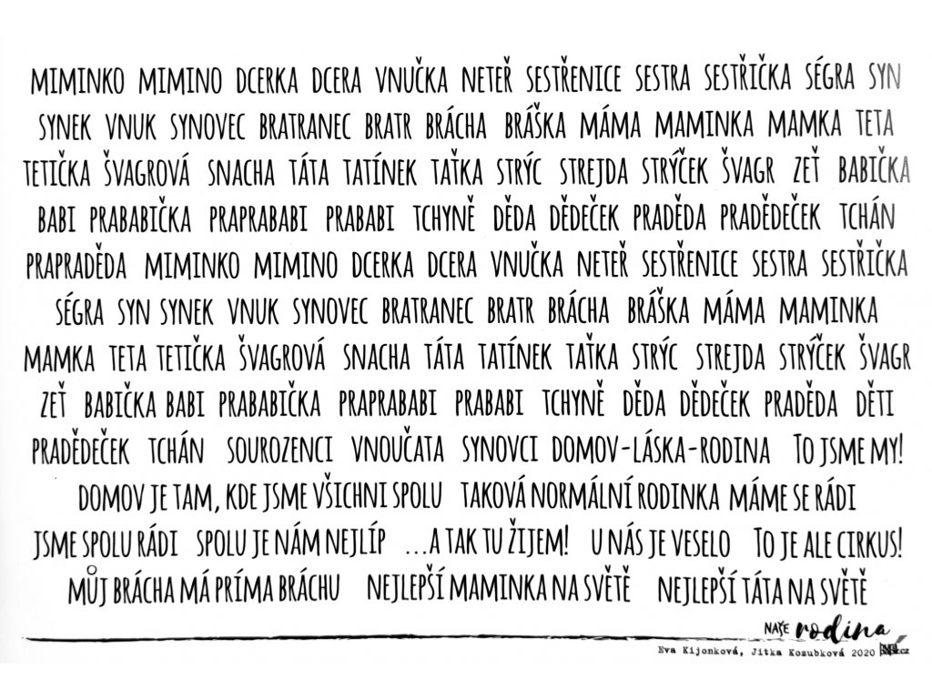 Hurá Papír - NAŠE RODINA / RODOKMEN - máma, táta... / A5 - neprůhledné české samolepky