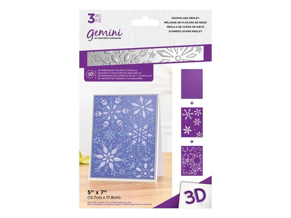 gemini snowflake medley 3d embossing folder stenci