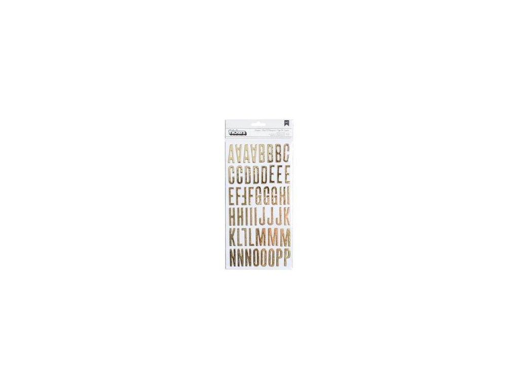 American Crafts - Shoebox/Gold Foil Chipboard - kartonová samolepící abeceda