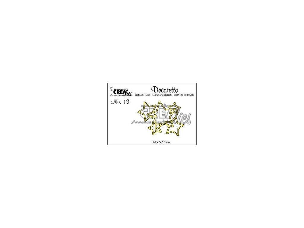Crealies - 13 / DECORETTE / hvězdičky - vyřezávací šablony pro Big Shot
