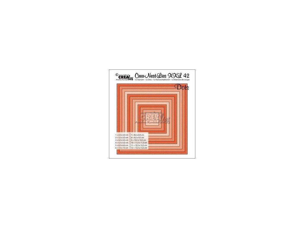 Crealies - XXL42 / tečky / čtverec - vyřezávací šablony pro Big Shot