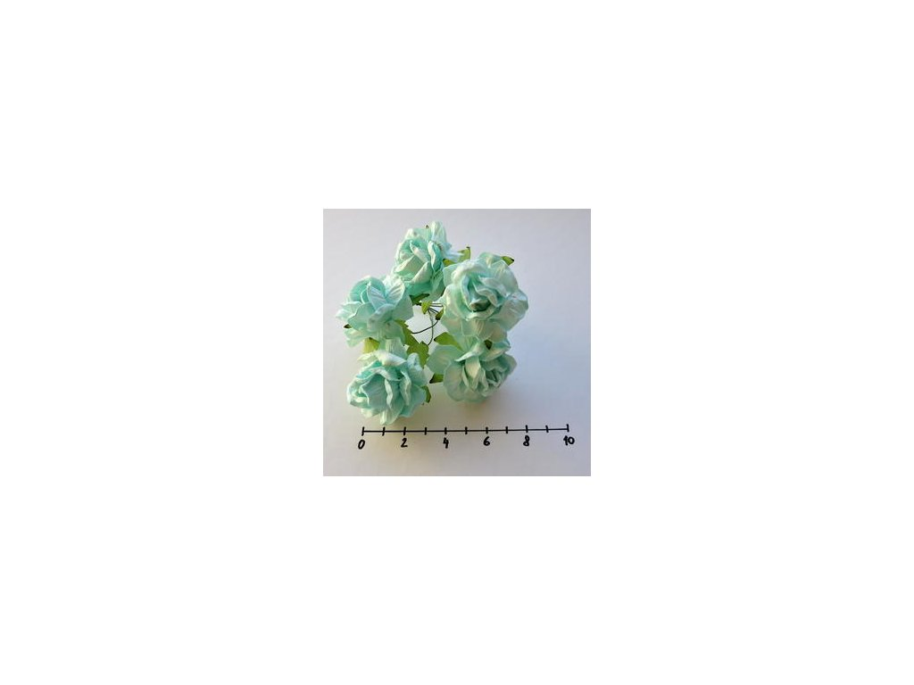 LARGE AQUA WILD ROSES / 5 ks - papírové kytky