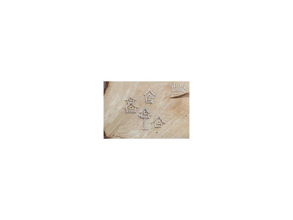 Scrapiniec - Spring Prodigy - Birdhouses - Budki  / 252 - kartonový výsek, 4 ks