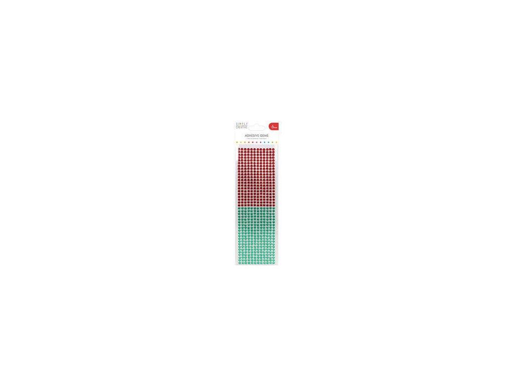 Simply Creative - RED/GREEN / 6 mm -  samolepící kamínky
